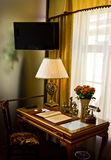 Fancy desk in hotel suite. A view of a fancy desk and furnishings in a suite of a luxury hotel Stock Photos