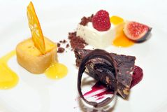 Fancy dessert on a plate / fine dining Royalty Free Stock Photos