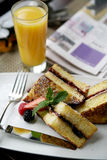 Fancy Desserts. Delicious French Toast Breakfast with Juice Stock Photo