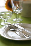 Fancy Dinner. A table set for a dinner banquette with selective focus and Royalty Free Stock Photos