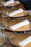 Fancy dinner set. Over a table royalty free stock photo