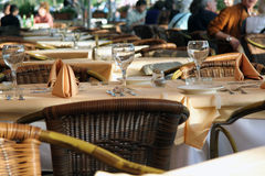 Fancy Dinner Table at Restaurant. Fancy table set for dinner at an outdoor restaurant Royalty Free Stock Image