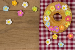 Fancy Doughnuts. Top view of a fancy donut on wooden table with copy space Stock Photo