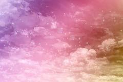 Fancy dreamy puffy clouds on pink heaven sky Royalty Free Stock Photography