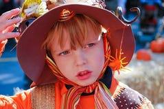 Fancy dress for halloween. Portrait of a cute child in a fancy dress for halloween stock photography