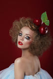 Fancy Dress Party. Funny Harlequin with Apples Royalty Free Stock Image
