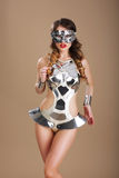 Fancy Dress Party. Woman in Futuristic Glasses and Creative Metallic Costume Stock Photo