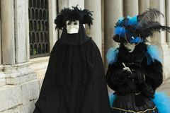 Fancy Dressed Pair In Venice royalty free stock photography