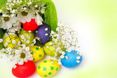 Fancy Easter eggs and basket Stock Images