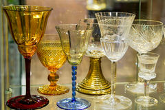 Fancy elegant glassware. Closeup of fancy, colored glasses, glassware or stemware Royalty Free Stock Photo