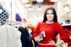 Fancy Elegant Woman with Silver Clutch Bag Shopping Stock Photos