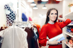 Fancy Elegant Woman with Silver Clutch Bag Shopping Royalty Free Stock Photo