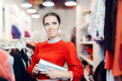 Fancy Elegant Woman with Silver Clutch Bag Shopping Stock Photography