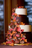 Fancy fall themed wedding cake Stock Photos
