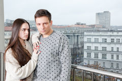 Fancy female and male, lovers on terrace. Fashion lifestyle phot royalty free stock images