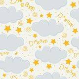 Clouds and stars kids seamless pattern design royalty free illustration