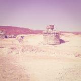 Fancy Figures. In Sandy Hills of the Negev Desert in Israel, Instagram Effect Stock Photos