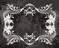 Fancy filigree border design. A fancy filigree border design in white on black royalty free illustration