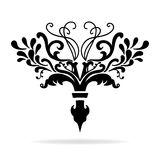 Fancy fleur-de-lis chapter or text divider design with vines and curls royalty free stock photo