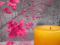 Fancy floral candle Stock Image