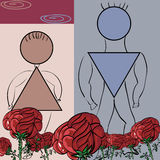 Fancy flower card with a pair of symbols male and female. Stock Photos