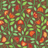 Fancy Flower Pattern_Brown Stock Photo