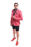 Fancy and funky male model wearing fashion concept. Standing isolated on white background Royalty Free Stock Photos