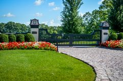 Fancy Gated Entrance Brick Driveway royalty free stock photography