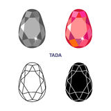 Fancy gem cut. Low poly colored & black outline template fancy gem cut icons isolated on white background, illustration royalty free illustration