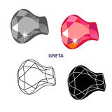 Fancy gem cut. Low poly colored & black outline template fancy gem cut icons isolated on white background, illustration stock illustration