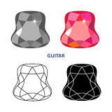Fancy gem cut. Low poly colored & black outline template fancy gem cut icons isolated on white background, illustration vector illustration