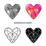 Fancy gem cut. Low poly colored & black outline template fancy gem cut icons isolated on white background, vector illustration vector illustration