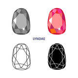Fancy gem cut. Low poly colored & black outline template fancy gem cut icons isolated on white background, vector illustration stock illustration