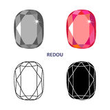 Fancy gem cut. Low poly colored & black outline template fancy gem cut icons isolated on white background, vector illustration royalty free illustration