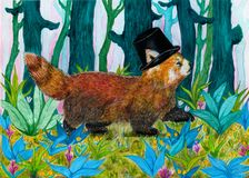 Fancy Red Panda Gentleman walking through a colorful forest. Watercolor traditional artwork of a very confident and dandy red panda walking with a spring in his Stock Photos