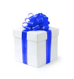 Fancy Gift Box. Fancy gift-box with blue ribbon bow isolated with clipping path on white background Stock Photography