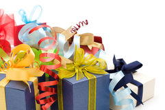 Fancy gift boxes. On white background Stock Photography