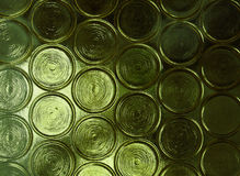 Fancy glass rings. Grainy glass pattern, green window with rings Stock Photos