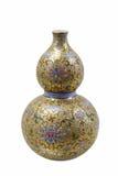 Fancy glaze gourd vase. Chinese porcelain of fancy glaze gourd vase with white  background Stock Photography