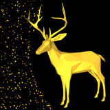 Fancy gold deer shape in hipster origami style. Royalty Free Stock Photos