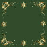 Fancy Gold Snowflakes on Green Holiday Accent Tile Stock Photo