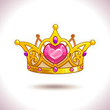 Fancy golden princess crown. Fancy cartoon vector golden princess crown icon, isolated on white, game trophy asset Stock Photo
