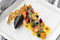 Fancy gourmet fresh fruit dessert. Closeup of fancy gourmet fresh fruit dessert Stock Image