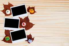Fancy halloween chocolates and polaroid photos and maple leaves Stock Photo