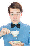 Fancy Handsome old-fashioned gentleman Drinking Tea Stock Photos