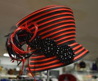Fancy hat for derby day. Fancy, colorful hat for a formal occasion such as church, Kentucky Derby, a wedding or meeting the queen Royalty Free Stock Images