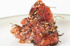 Fancy of Hawaiian Poke Raw Fish Prepared with Onions and Seaweed stock image