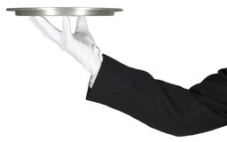 Fancy Head Waiter Holding Tray, Isolated Royalty Free Stock Photos