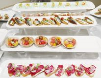 Assortment of fancy horderves. Fancy  horderves served at the culinary institute of america in hyde park new york Royalty Free Stock Photo