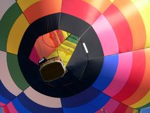 Fancy hot air balloon. Bright hot air balloon taking off . Full schreen of ballon with many colours royalty free stock images